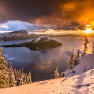Starburst Sunrise on Crater Lake